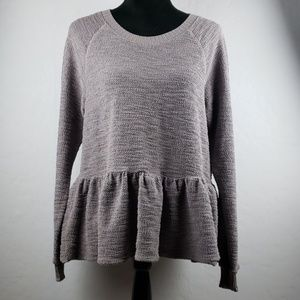 TRULY MADLY DEEPLY Gray Long Sleeve Peplum Top